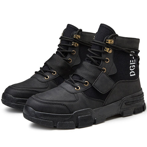 Mens Military Tactical PU Leather Waterproof Boots