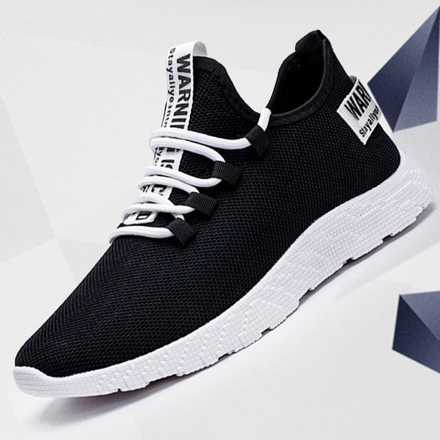 Mens Breathable No Lace Running Shoes | Black slip on