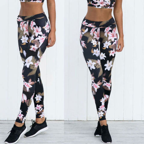 Womens Summer Floral Skinny Casual High Waist Leggings