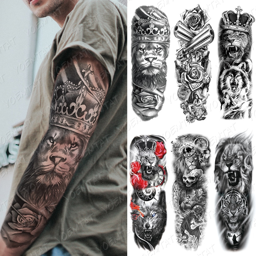 Large Arm Sleeve Temporary Tattoo Lion Crown King Rose