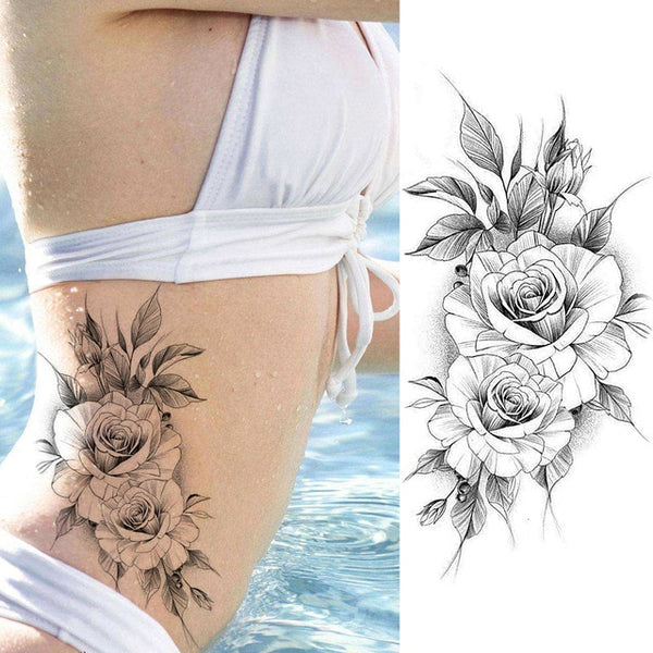 Womens Purple Rose Water Transfer Tattoo Stickers