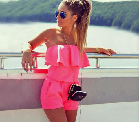 Summer Strapless Off Shoulder Ruffle Playsuits