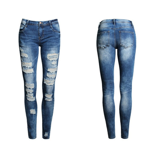 Women Slim Ripped Skinny Washed Stretch Jeans