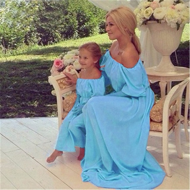 Mother Daughter Womens Kids Solid Bohemian Matching Beach Maxi Dresses