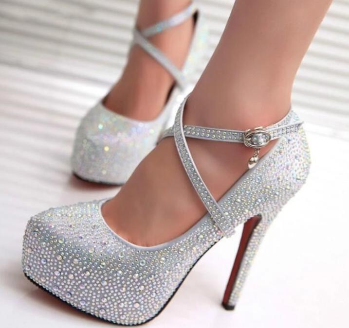 Womens High Heel Crystal Platforms