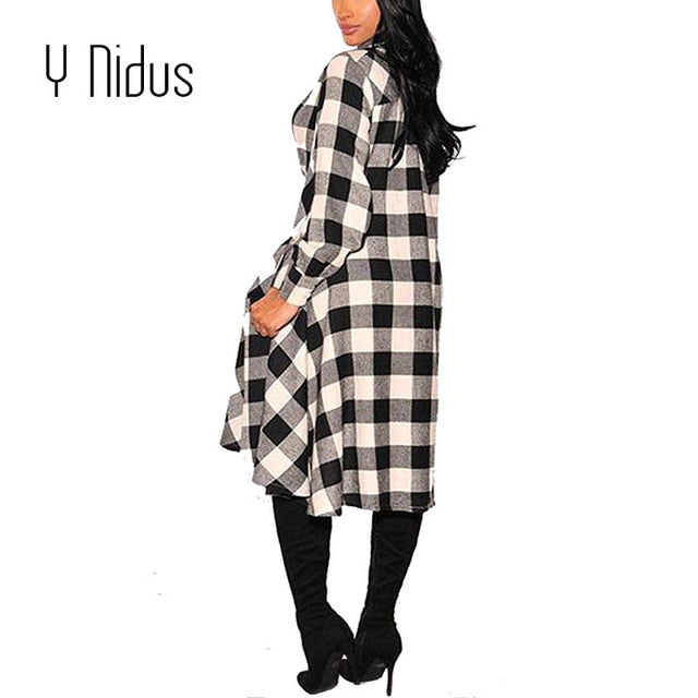 Womens Long Sleeve Button Up Plaids Dress