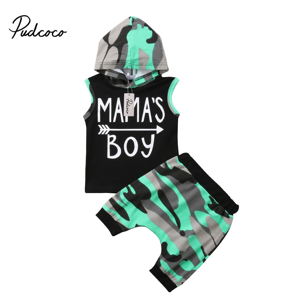 Kids Baby Boys Sleeveless Hoodie T-Shirt Top + Pants 2Pcs Set