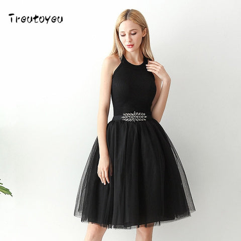 Ladies High Waist 6 Layer Midi Tulle Dress