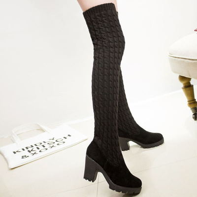 Womens Winter Over the Knee Thigh High Knit Boots