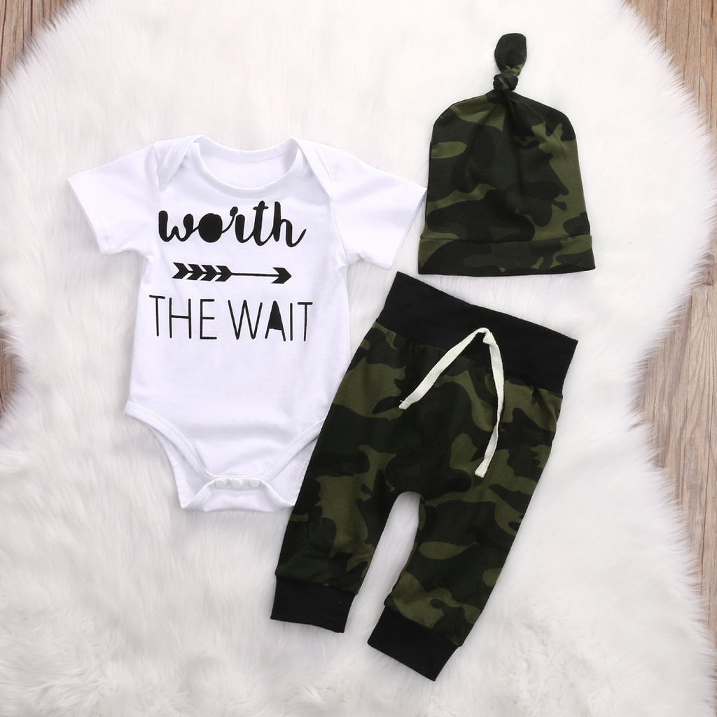 Camouflage Newborn Toddler Baby Boys Clothes Romper Bodysuit + Pants Hats Outfits Set The Wait arrow Infant Boy Clothing Set - Hypa Fashion