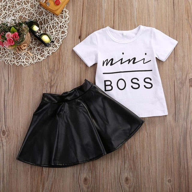 2Pcs Kids Baby Girl Summer Short Sleeve Mini Boss T-shirt Tops + Leather Skirt Outfit