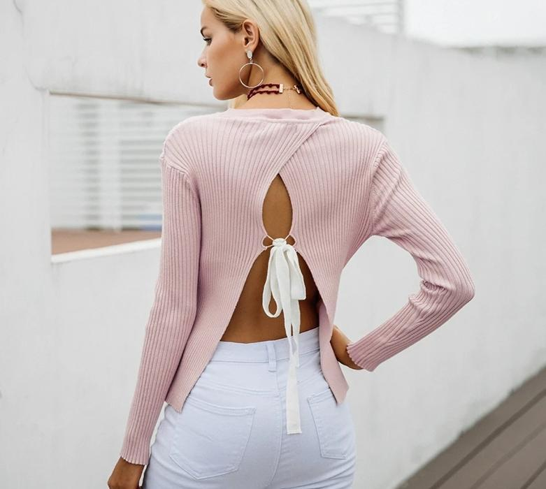Womens Backless Bow Knitted Sweater