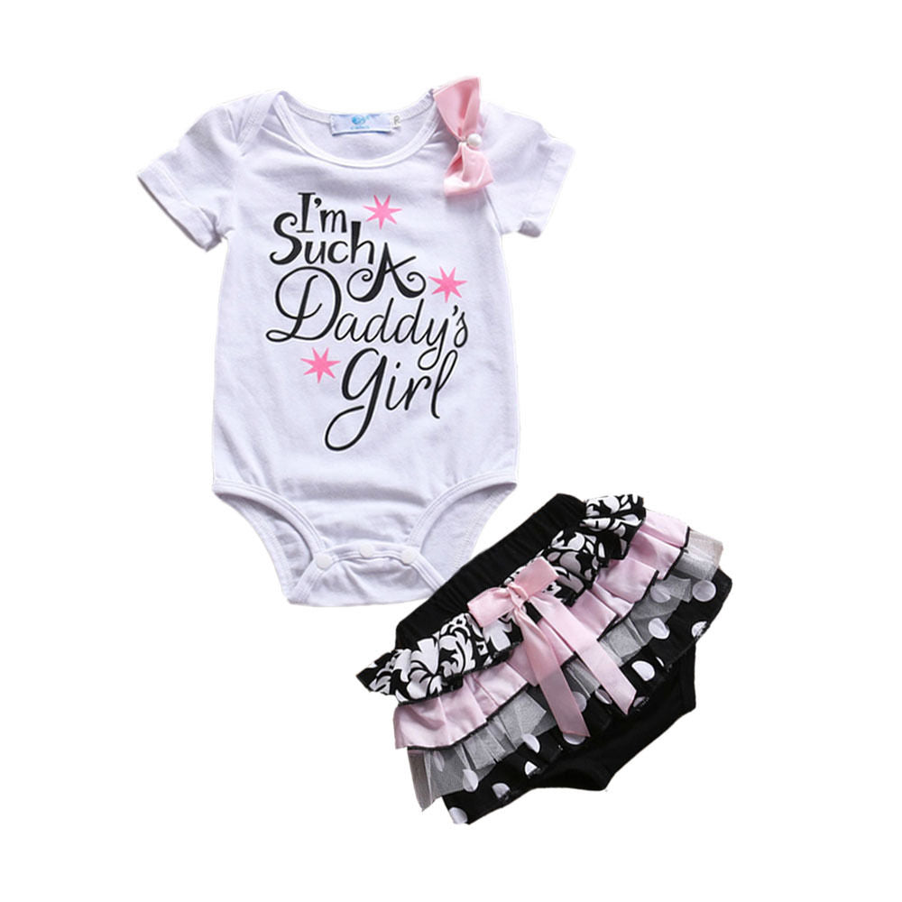 Baby Girl I'm Such A Daddy's Girl Bodysuit+Cute Lace Ruffle Shorts - Hypa Fashion