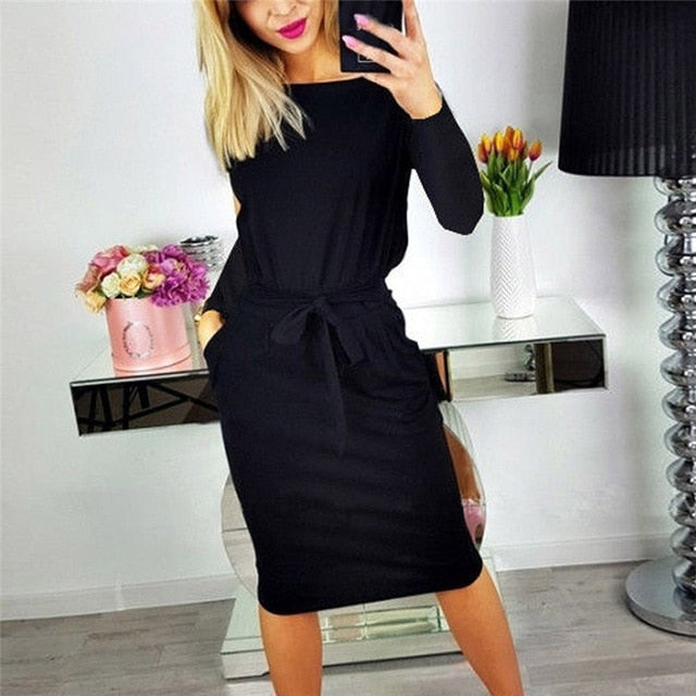 Women Long Sleeve Slim Midi Cotton Casual Dress
