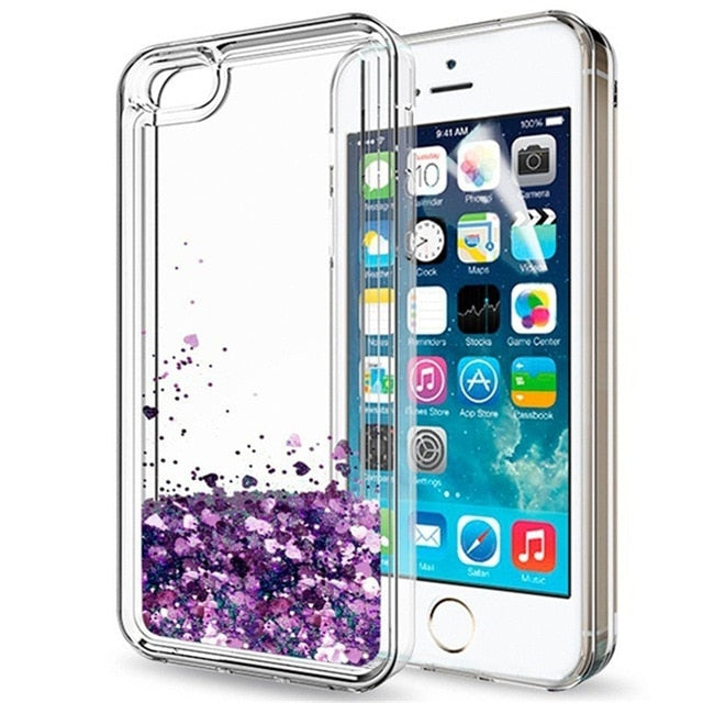 Case for IPhone X XR XS Max Liquid Glitter Sparkle Clear TPU Protective Cases Cover for IPhone 10 6 6S 7 8 Plus