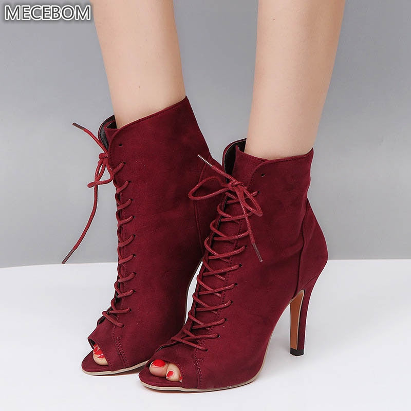 Womens Boot Canvas Peep Toe Ankle Lace Up Shoes