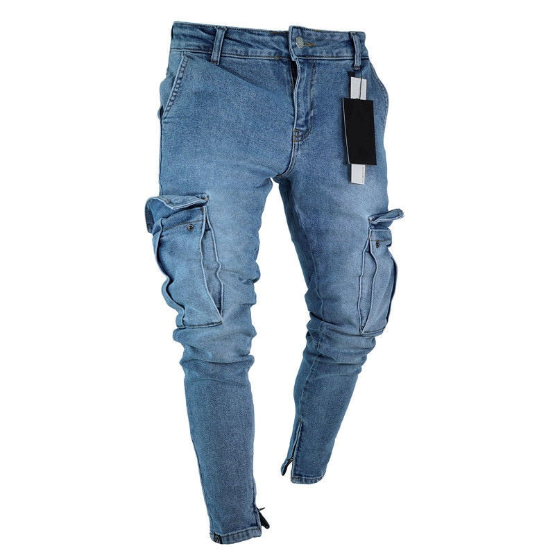 Mens Jeans Denim Pocket Pants Summer Autumn Thin Slim Regular Fit Straight Jeans Elasticity Stretchy Male - Hypa Fashion