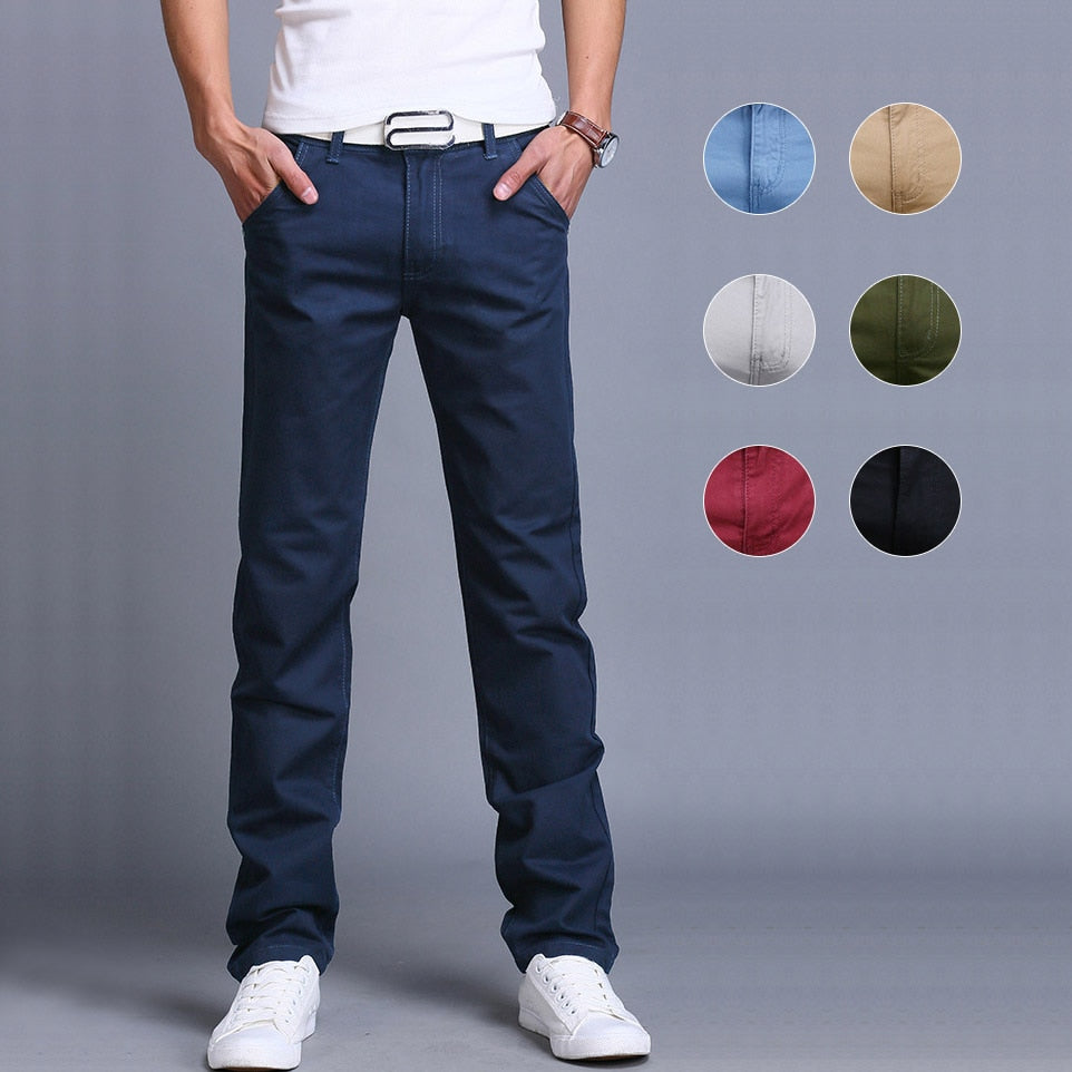 Fashion Men Business Casual Pants Cotton Slim Straight Trousers Spring Summer Long Pants dropshipping - Hypa Fashion
