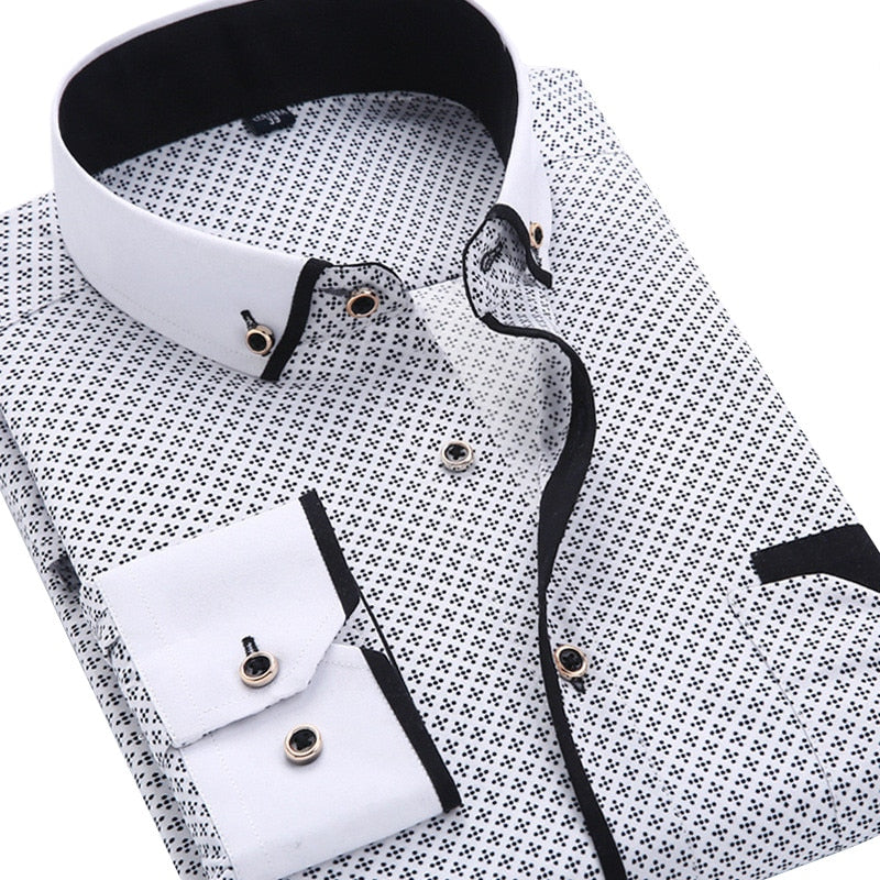 Mens Casual Long Sleeved Printed Slim Fit Business Shirt