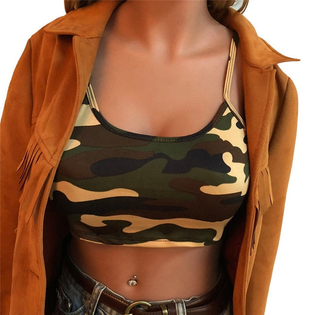 Womens Camouflage Sleeveless Bustier Crop Top