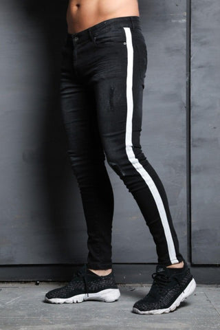 Mens Casual Skinny Side Striped Jeans