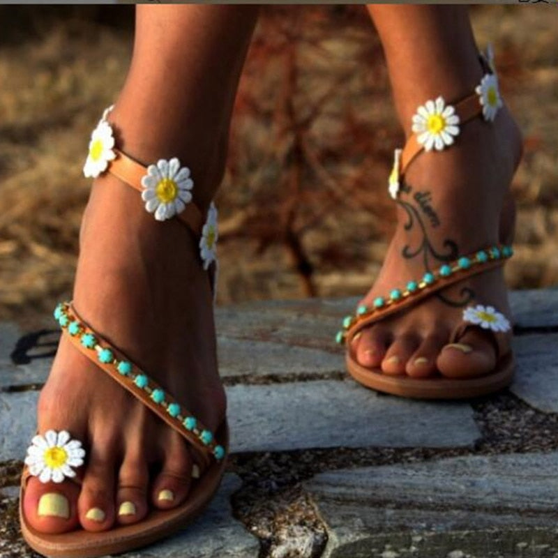Womens Boho Beach Flower Flat Sandals
