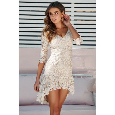 Womens V Neck Lace Layered Mini Dress