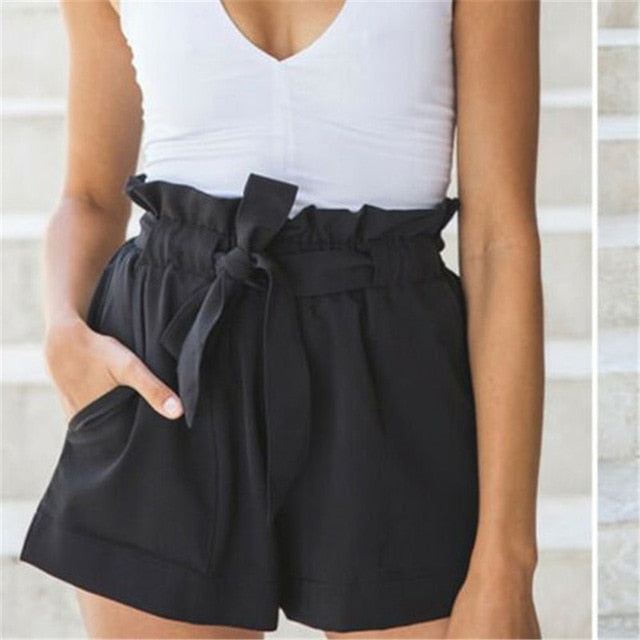 Womens High Waist Bow Tie Belt Shorts