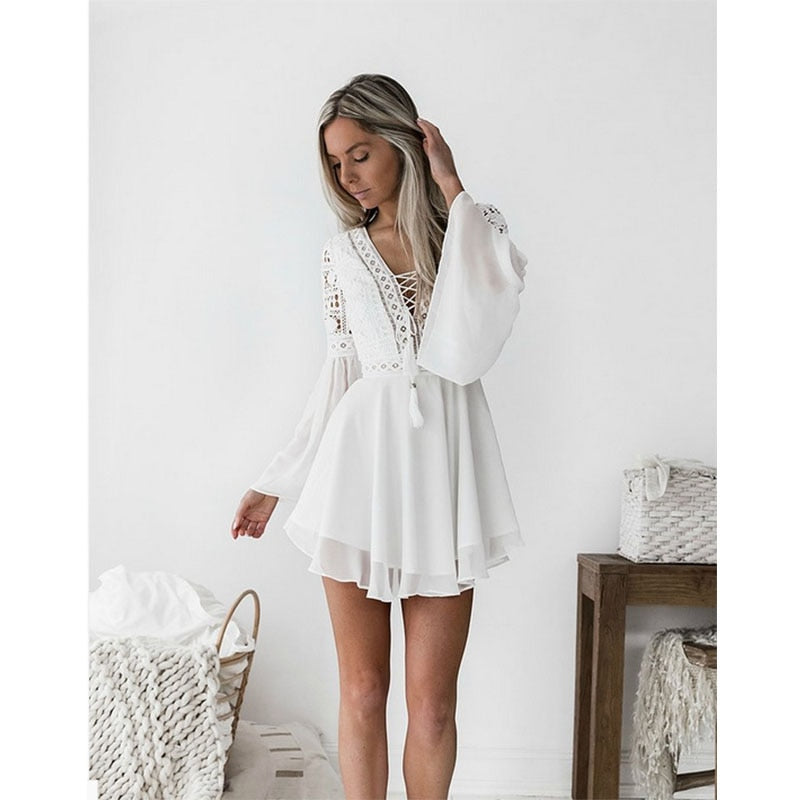 new Girls White Summer Bohemian Mini Dress Women Fashion Spring Solid White Mini Lace Casual Clothes V-neck Long Sleeve Dresses - Hypa Fashion