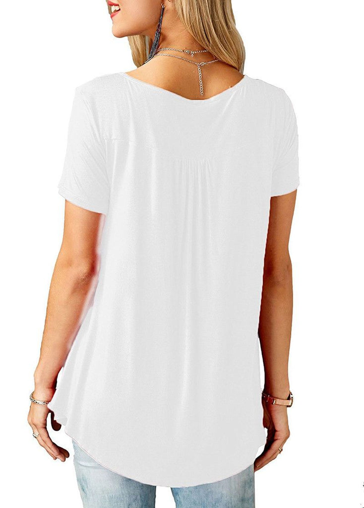 Womens Casual Short Sleeve Loose Buttoned T-Shirts