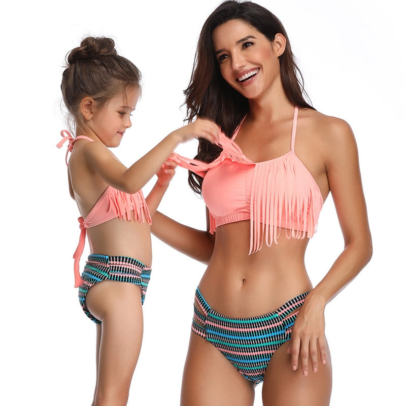 Mother Daughter Womens Kids Matching Tassel Bikini Swimwear
