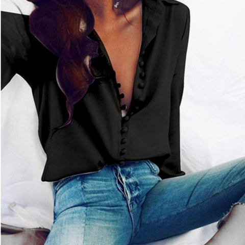 Womens Elegant Long Sleeve Cotton Button Blouse