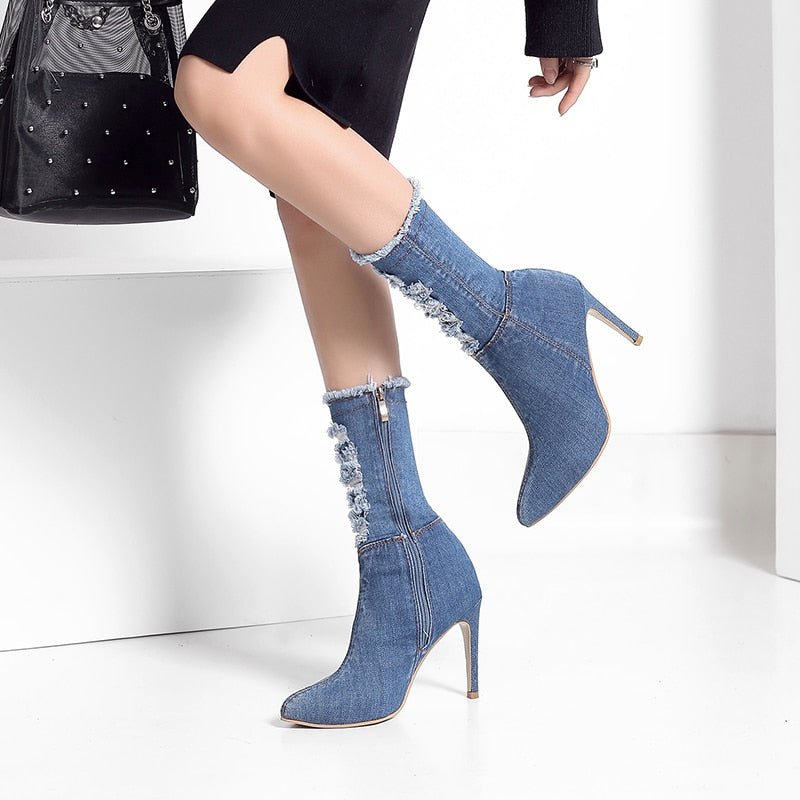 Womens Denim Jeans Mid Calf Boots