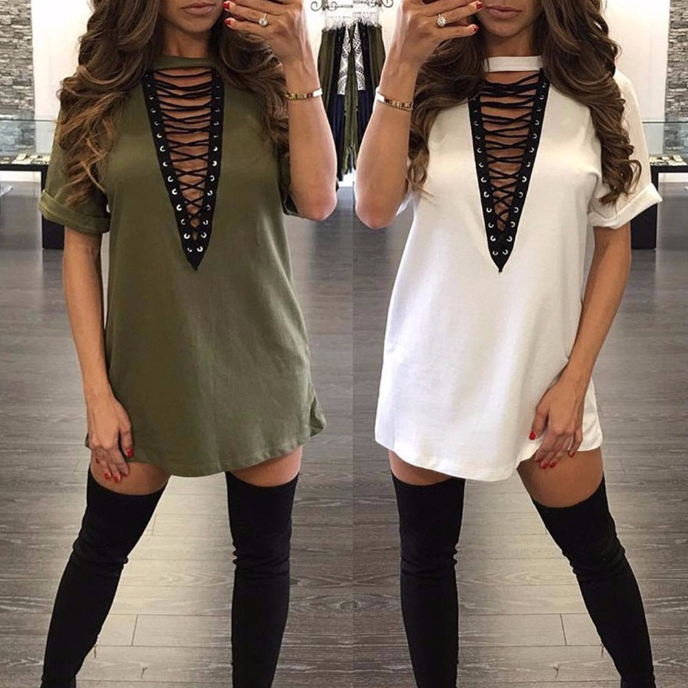 Women Lace Up Plunge V Casual Mini Dress