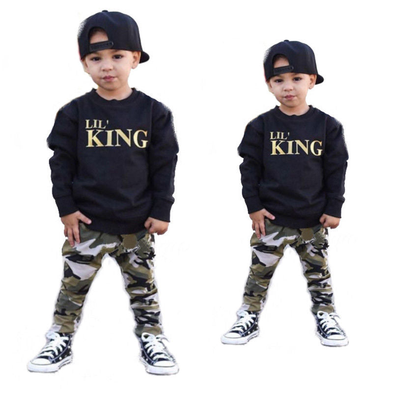 Kid Boys Long Sleeve T-Shirt Tops + Camouflage Pants Set