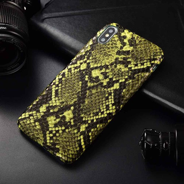 Snake Skin PU Leather Cover for iPhone 6 6s Plus 7 7Plus 8 8Plus X XR XS Max Phone Case