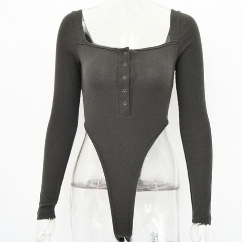 Womens Long Sleeve Slash Buttons Bodysuit