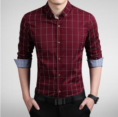 Mens Plaid Long Sleeve Slim Fit Cotton Shirts