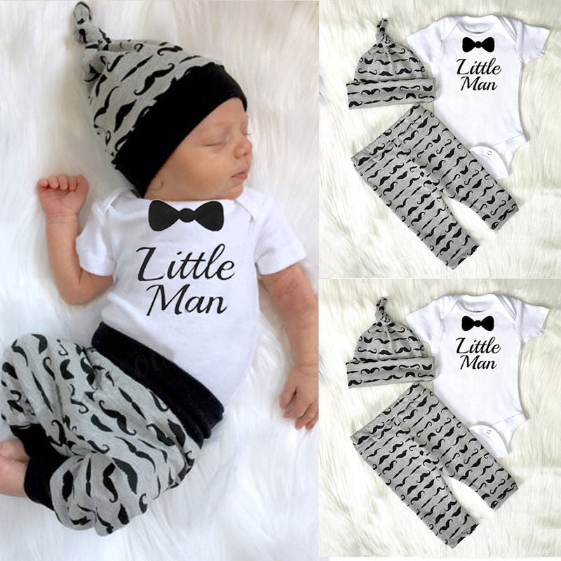 CANIS 2019 New 3pcs Newborn Baby Boys Little Man Romper+Pants+Hat Jumpsuit Outfits Set Cotton Clotehs 0-18M - Hypa Fashion