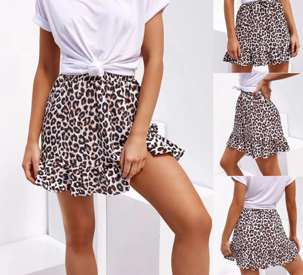 Womens Summer Leopard Print Casual Skirt