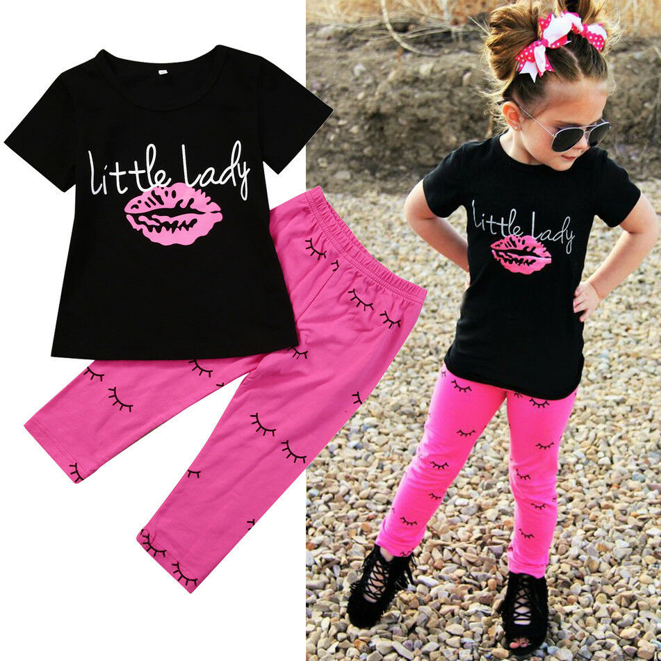 Kid Girls T-shirt Lip Top + Printed Long Pants Set