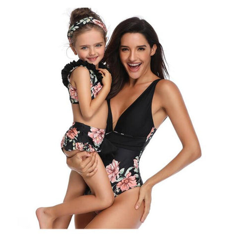 Mother Daughter Womens Kids Matching Bikini Swimwear Outfits