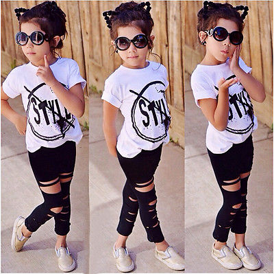 Kid Girls Summer Short Sleeve Print T-Shirt + Hole Pant Leggings