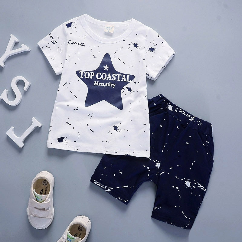 IENENS Summer Infant Cotton Short Sleeves Clothes Tops + Pants Baby Toddler Boy Clothing Sets Kids Children Boys Outfits Suits - Hypa Fashion
