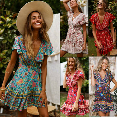 Women Boho Vintage Short Print Dress
