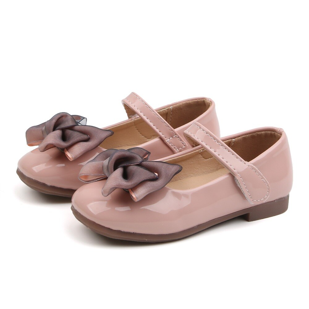 Girl Kids Cute Bow Leather Shoes