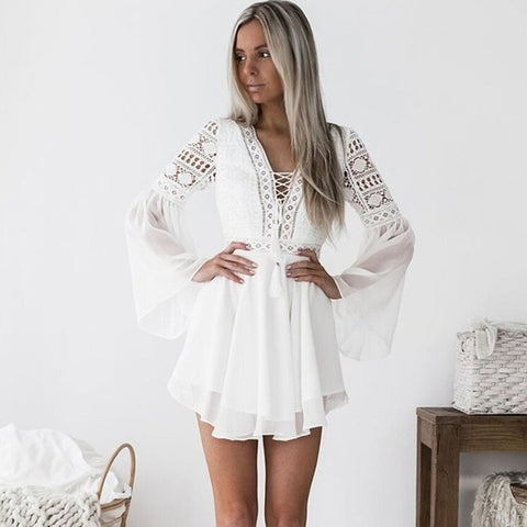 Womens Hollow Long Sleeve Crochet Lace Dress