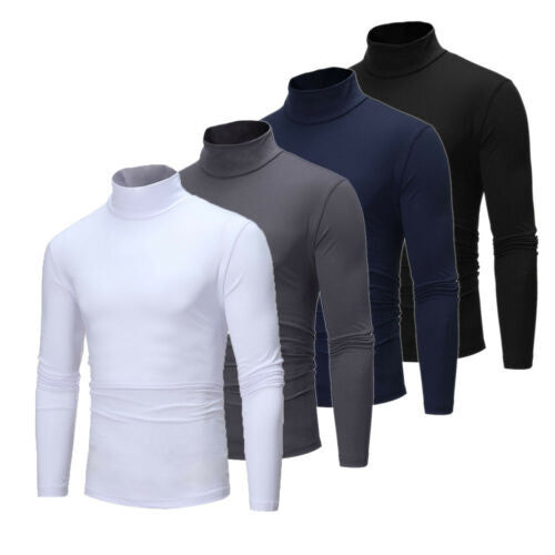Men's Winter Warm Long Sleeve Cotton Cotton High Neck Pullover Sweater Tops Turtleneck UK - Hypa Fashion