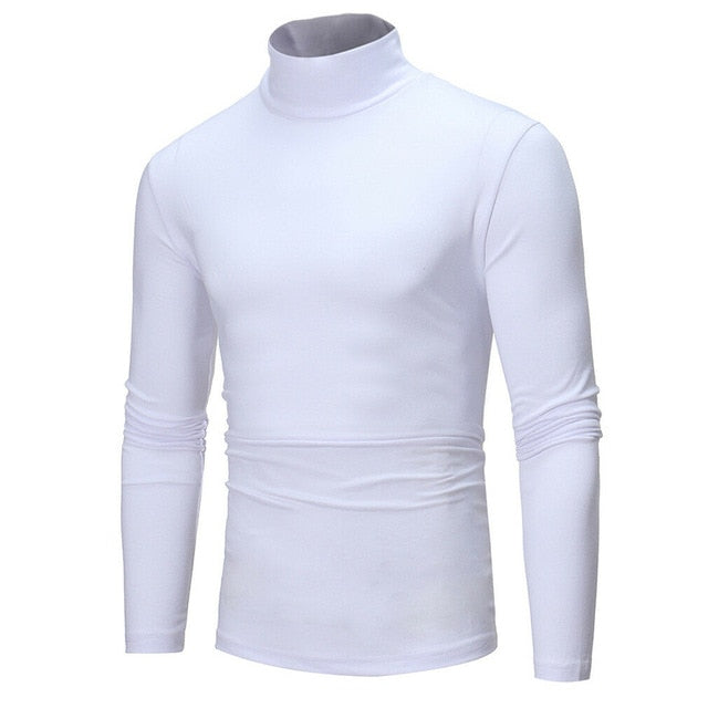 Mens Warm Long Sleeve Cotton Turtleneck Tops