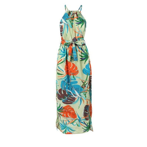 Womens Boho Floral Print Backless Maxi Dresses